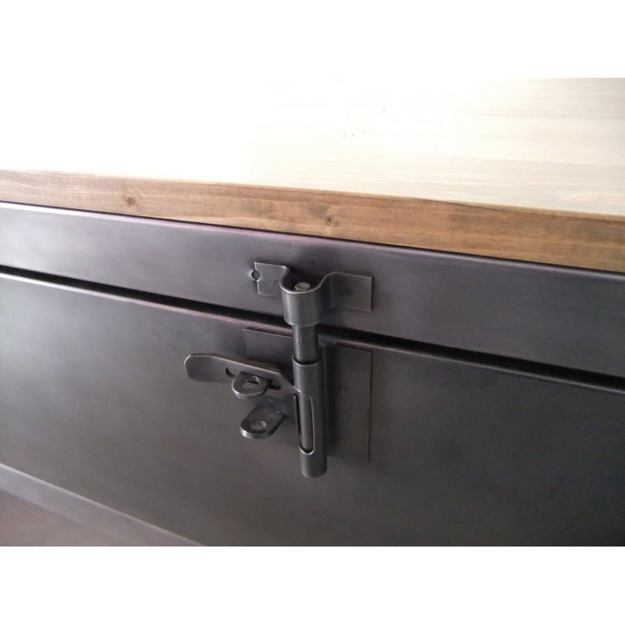 Meuble tv industriel avec ancien vestiaire heure cr ation - Restauration meuble industriel ...