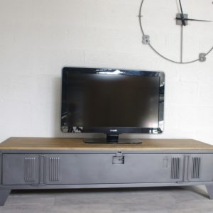 meuble tv buffet bois metal industriel sur artisanale. Black Bedroom Furniture Sets. Home Design Ideas