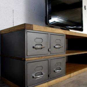 meuble tele style industriel sur-mesure en acier et bois