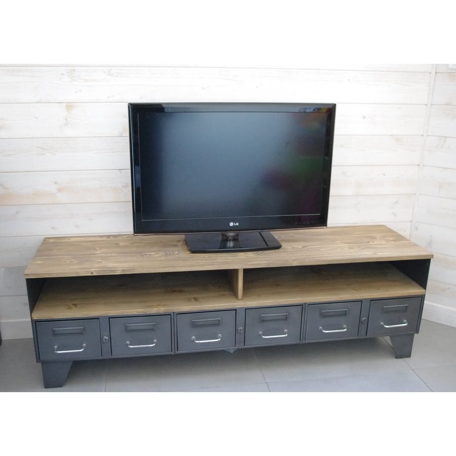 Meuble tv industriel tiroirs et niche pour les appareils for Meuble tv a tiroirs