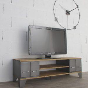 un meuble tv style industriel avec niche et tiroirs