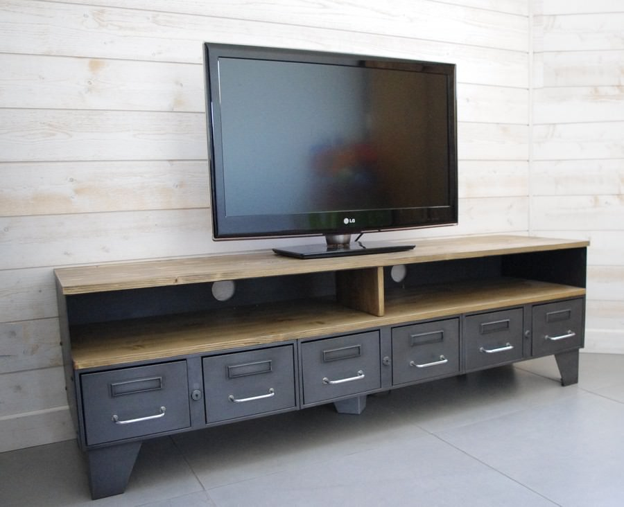 meuble tv industriel tiroirs et niche pour les appareils heure cr ation. Black Bedroom Furniture Sets. Home Design Ideas