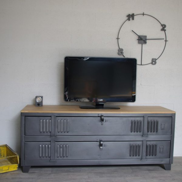 meuble tv industriel ancien vestiaire usine d coration. Black Bedroom Furniture Sets. Home Design Ideas