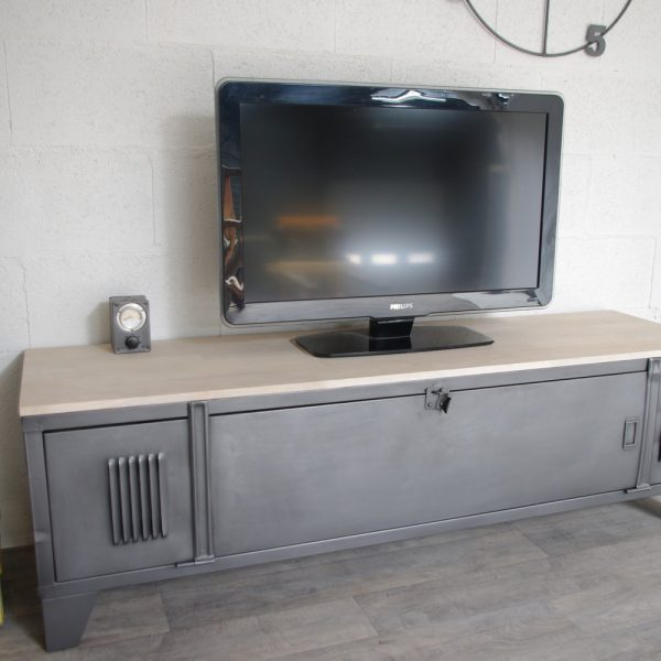 vestiaire meuble tv industriel usine restaur m tal et bois. Black Bedroom Furniture Sets. Home Design Ideas
