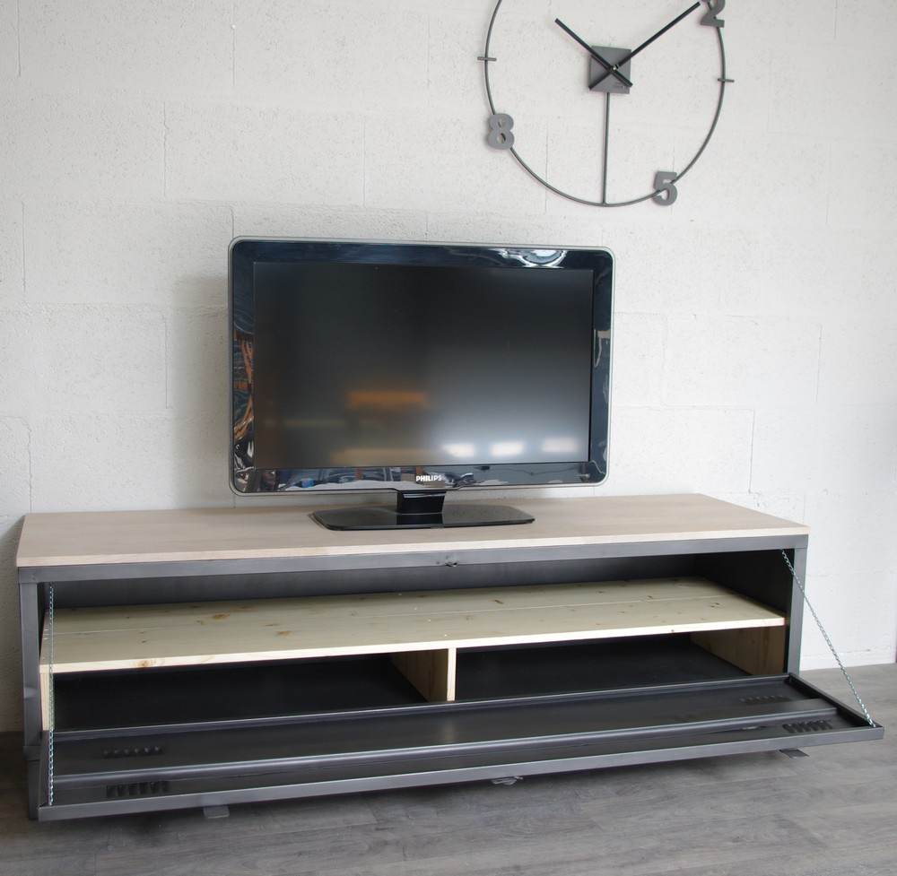 vestiaire meuble tv industriel usine restaur m tal et bois. Black Bedroom Furniture Sets. Home Design Ideas
