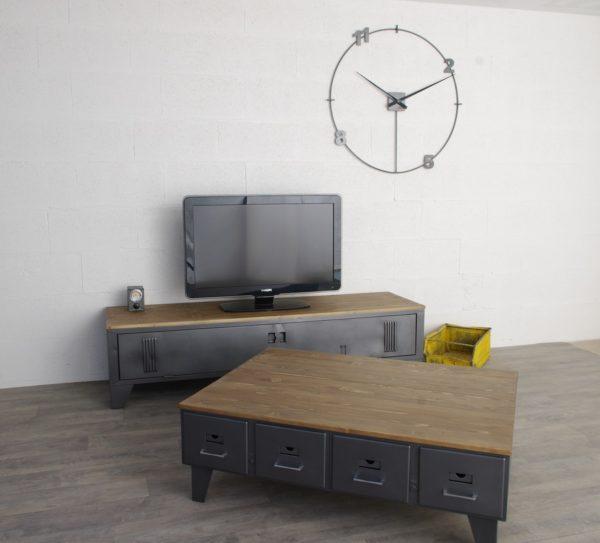 table basse industrielle tiroirs