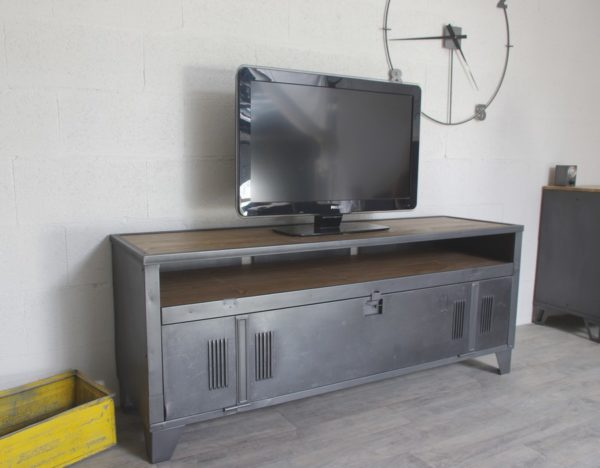 meuble-tv-industriel-porte-niche