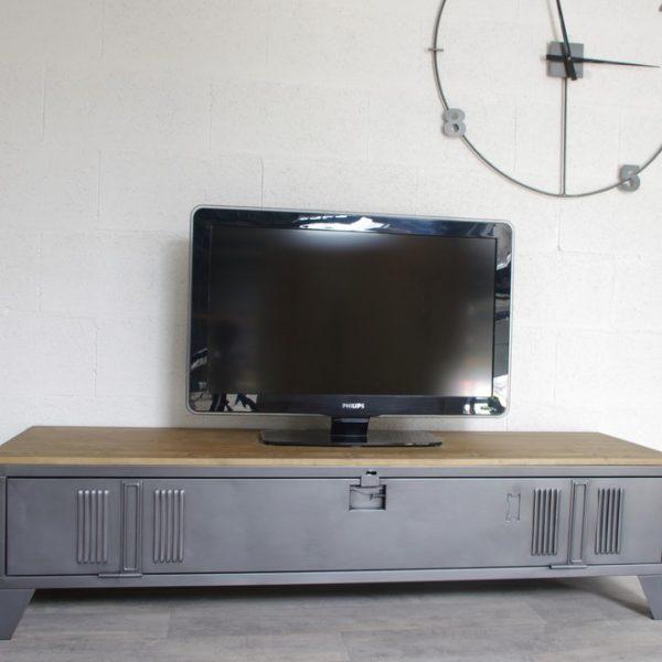 Vestiaire transform en meuble tv industriel metal et bois - Meuble style industriel metal ...