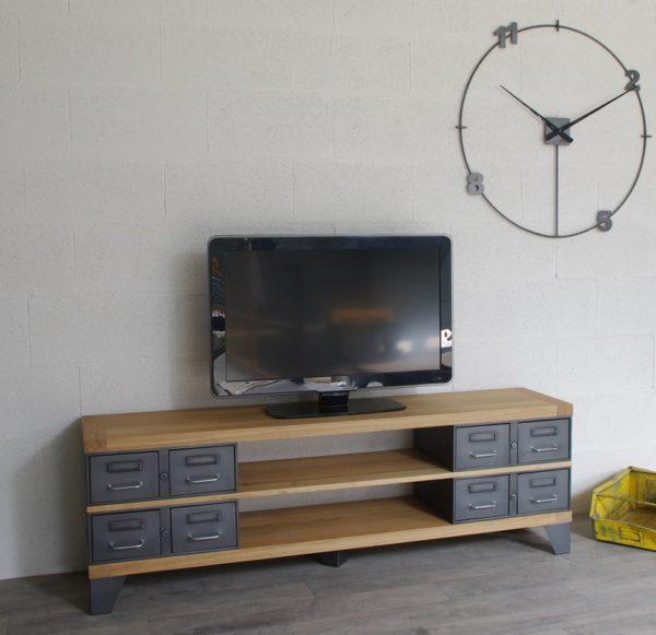 meuble tv métallique et bois