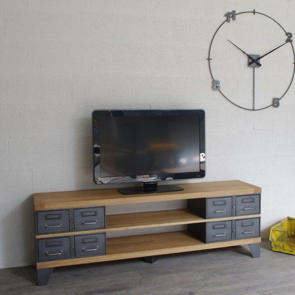 industriel meuble tv m tal et bois tiroirs. Black Bedroom Furniture Sets. Home Design Ideas