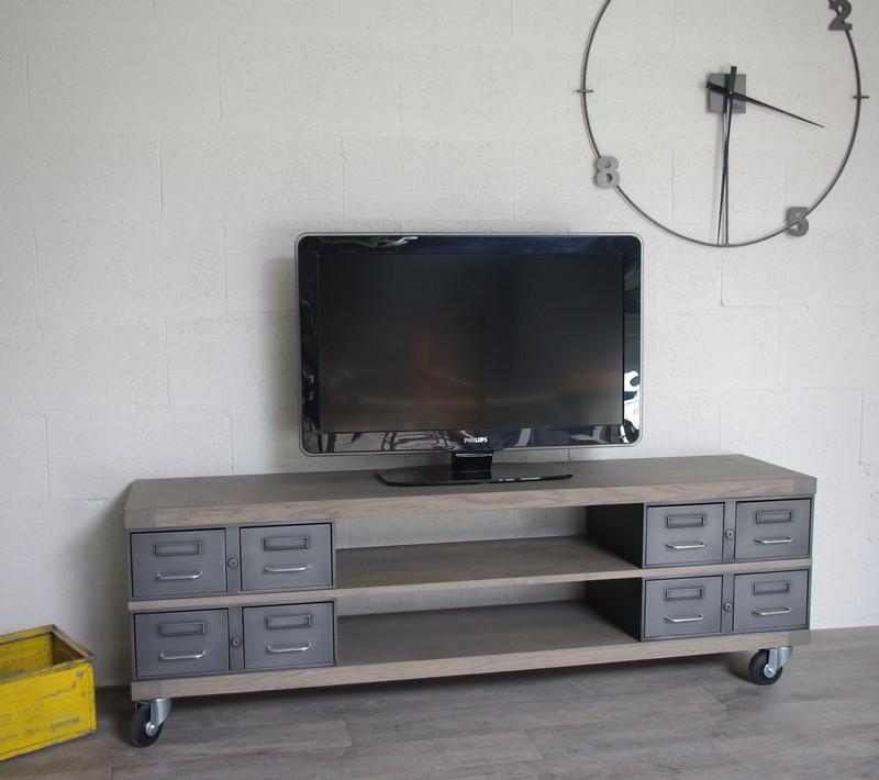 Meuble Tv Tiroir Bois : Accueil Meuble Tv Meuble Tv En Acier Et Bois Industriel, Chêne Ou
