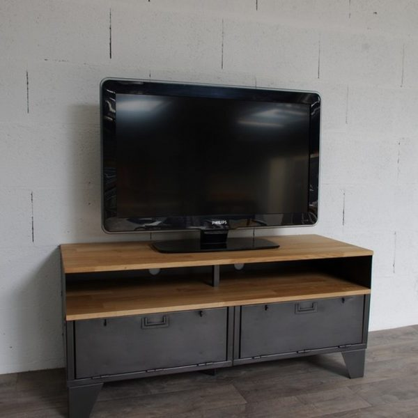 Meuble tv m tal et bois 120cm industriel restaur for Meuble tele 120 cm