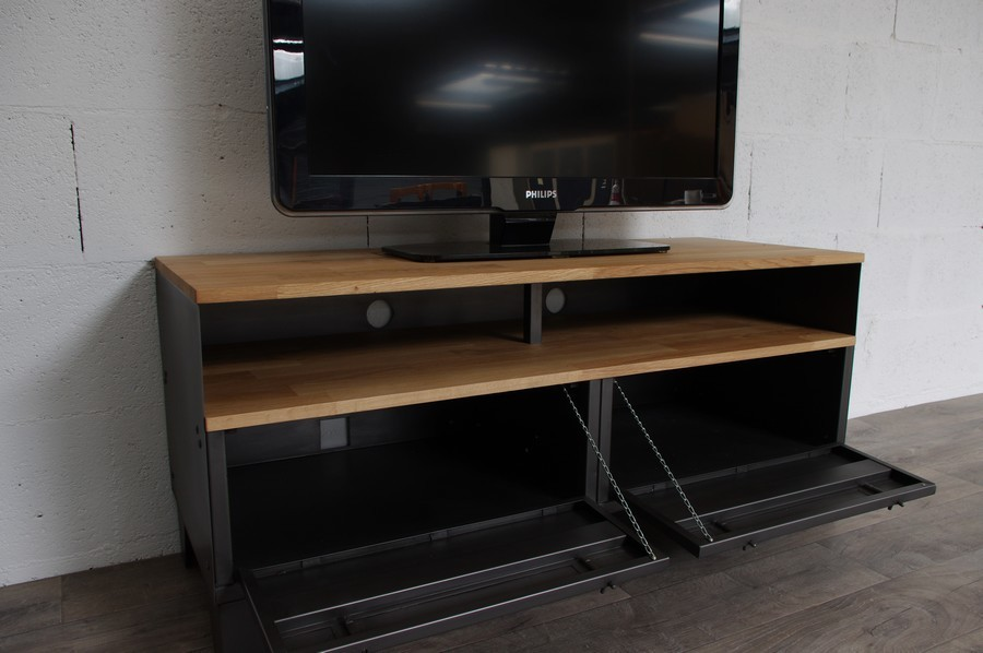 meuble tv m tal et bois 120cm industriel restaur. Black Bedroom Furniture Sets. Home Design Ideas