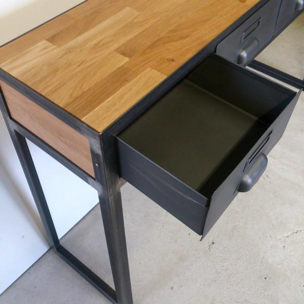 console style industriel avec tiroirs sur mesure fabriqu e notre atelier. Black Bedroom Furniture Sets. Home Design Ideas