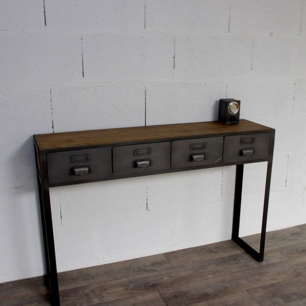 console style industriel avec tiroirs sur mesure fabriqu e notre atelier. Black Bedroom Furniture Sets. Home Design Ideas