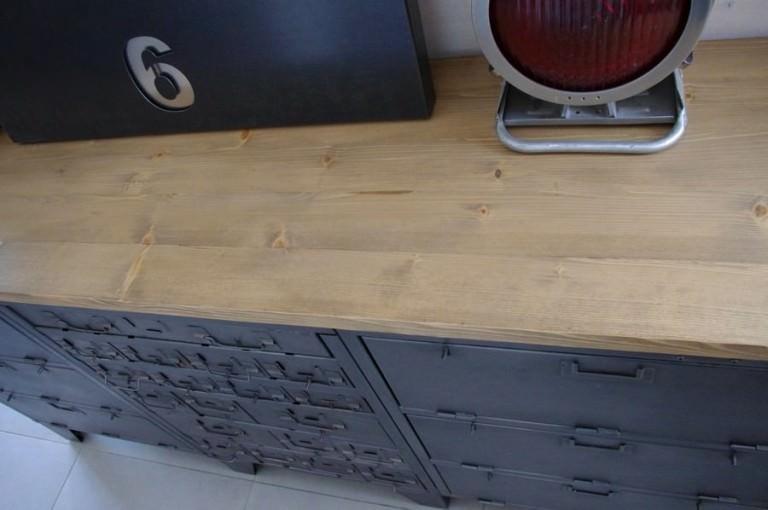 meuble tv industriel casier clapets acier bois