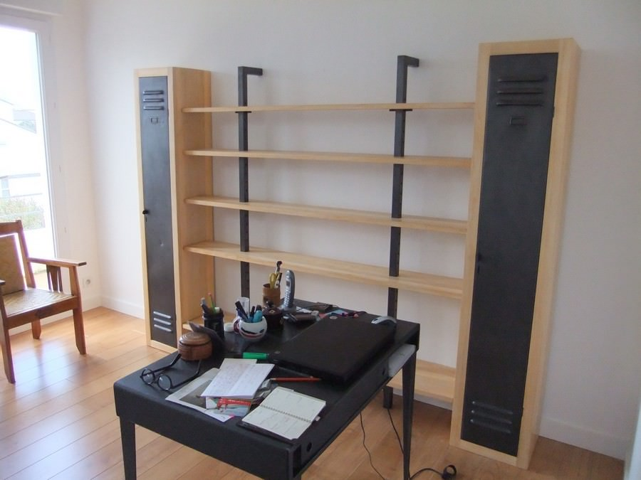biblioth que style industriel acier et bois sur mesure fab notre atelier. Black Bedroom Furniture Sets. Home Design Ideas