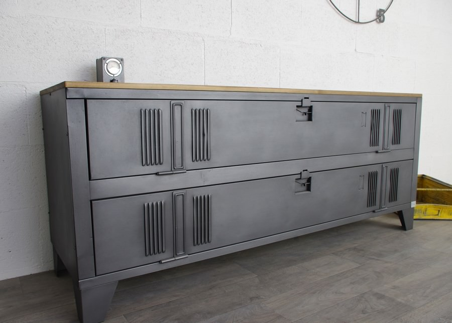meuble tv industriel ancien vestiaire usine d coration industrielle. Black Bedroom Furniture Sets. Home Design Ideas