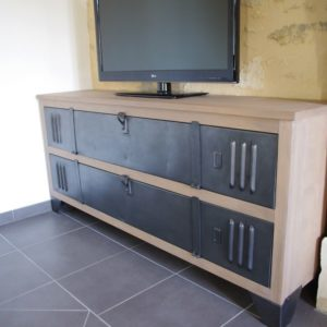 meuble tv industriel acier bois fabrication artisanale. Black Bedroom Furniture Sets. Home Design Ideas