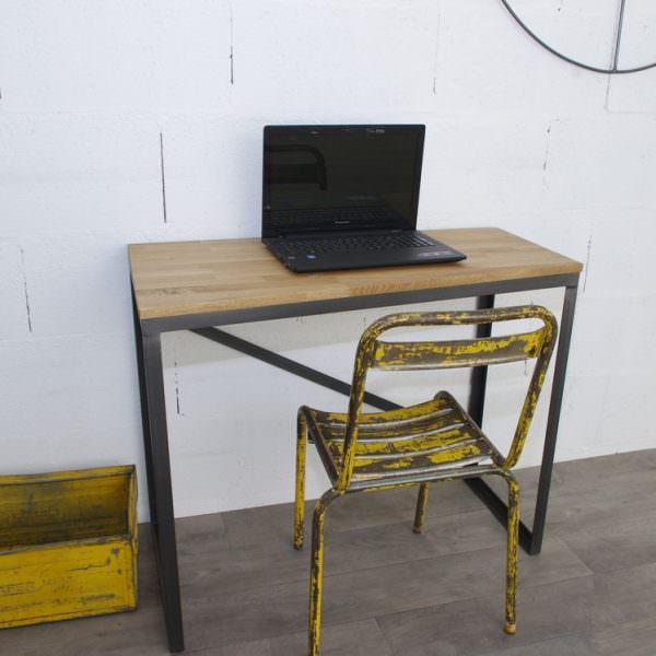 Bureau style industriel sur mesure en ch ne et acier for Lampe de bureau style industriel