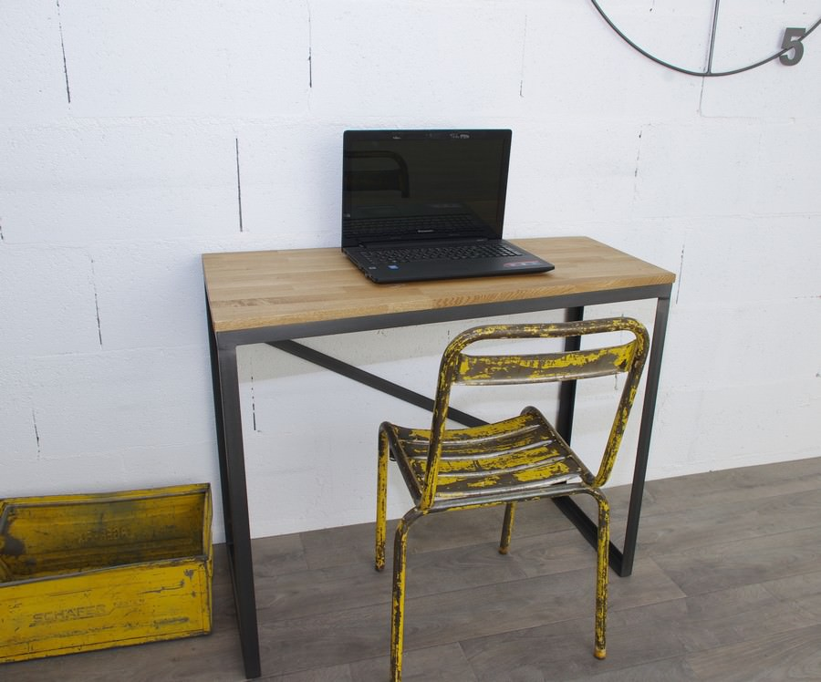 Bureau style industriel sur mesure en ch ne et acier - Bureau style industriel ...