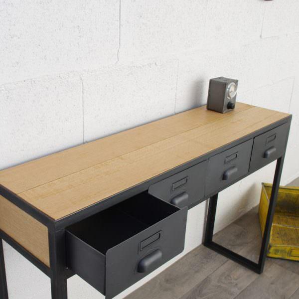 Console style industriel avec tiroirs sur mesure fabriqu e notre atelier - Console metal industriel ...