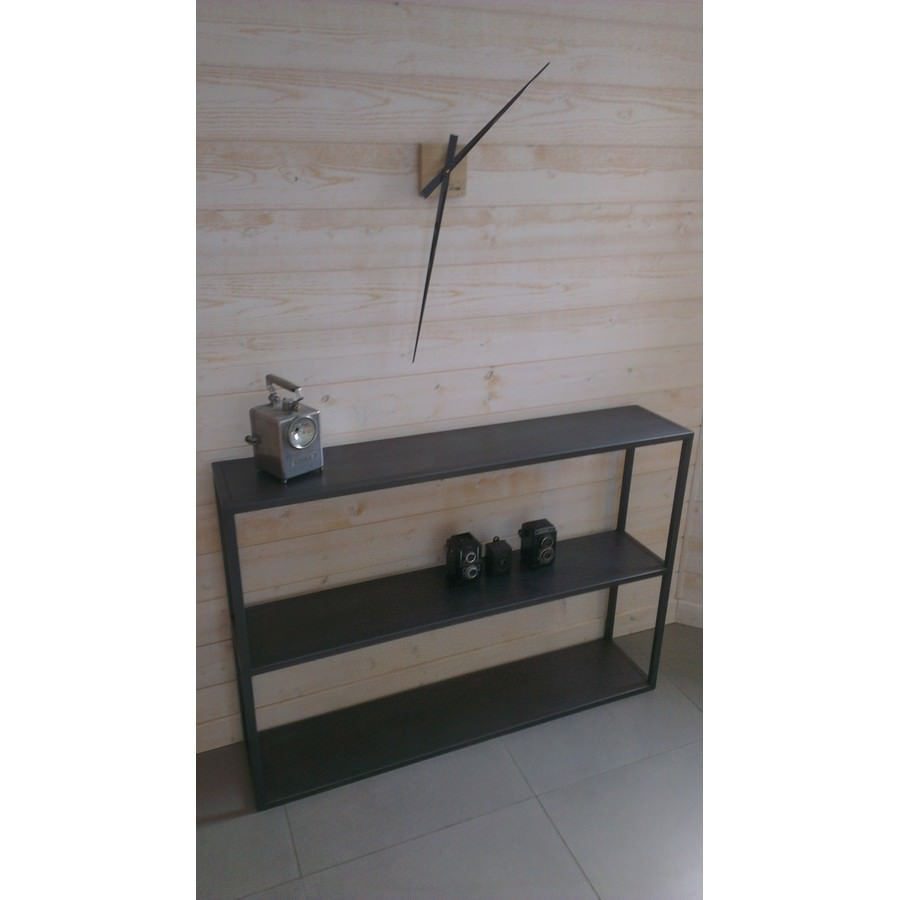 console en acier brut style industriel fabriqu e notre atelier. Black Bedroom Furniture Sets. Home Design Ideas
