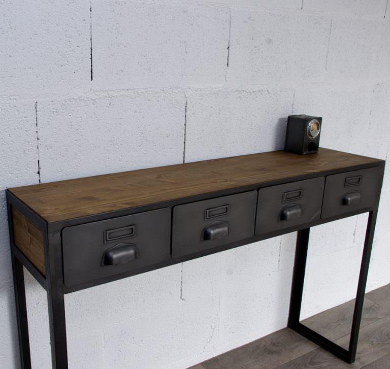console en acier et bois et tiroirs en acier