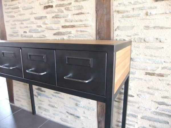 console d'entrée en acier et bois et restauration de tiroirs de medecin