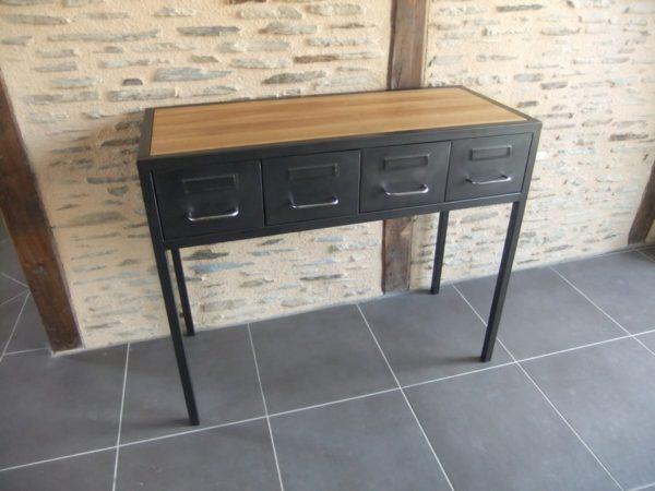 console d'entrée en metal et bois restauration de mobier industriel