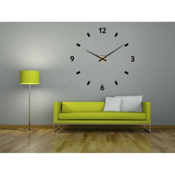 horloge géante murale en bois de chêne par heure creation