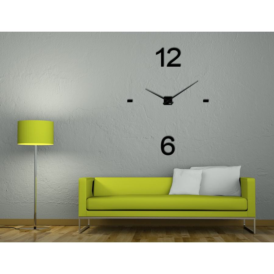 horloge xxl noire en plexi coller au mur minima aria25. Black Bedroom Furniture Sets. Home Design Ideas