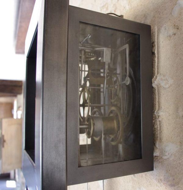 horloge comtoise en acier esprit industriel