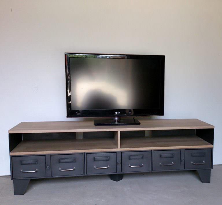 Meuble tv m tal industriel tiroirs et niche pour les for Meuble tele 1m