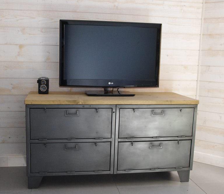 meuble tele industriel en acier et bois