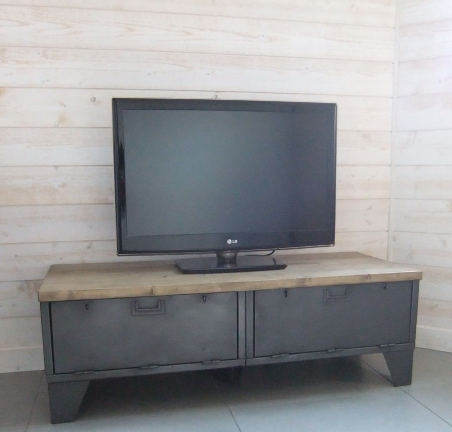 meuble tv industriel bas clapets version pic a en stock heure cr ation. Black Bedroom Furniture Sets. Home Design Ideas