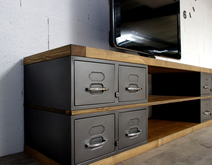 industriel meuble tv m tal et bois tiroirs. Black Bedroom Furniture Sets. Home Design Ideas