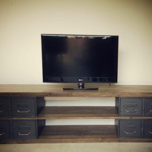 Industriel meuble tv m tal et bois tiroirs for Meuble al larin