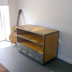 meuble tv bois et metal