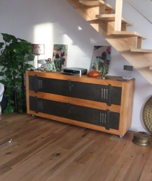 meuble tv buffet sur-mesure bois acier vestiaire