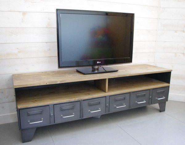 meuble tv industriel bas en bois et metal vintage