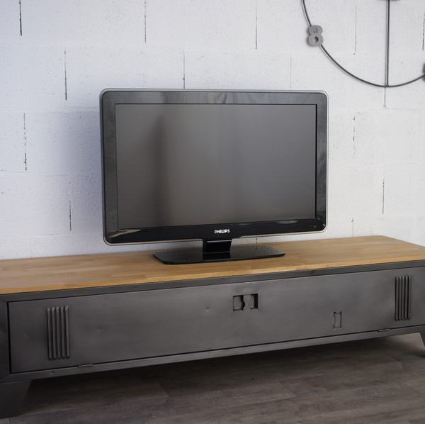 Populaire Vestiaire transformé en meuble TV industriel, metal et bois VB47