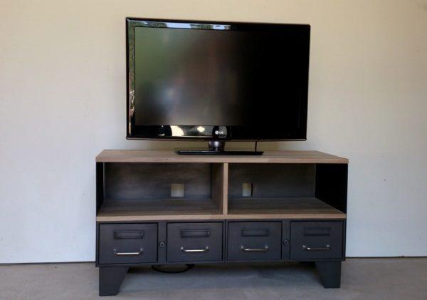 meuble tv industriel etagère avec niche et tiroirs
