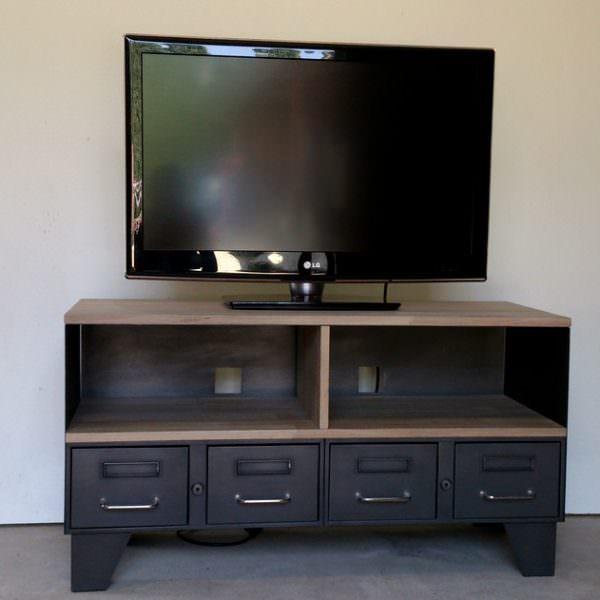 Meuble tv m tal industriel tiroirs et niche pour les for Etagere meuble tv