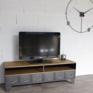 meuble tv industriel avec niche et tiroirs en acier