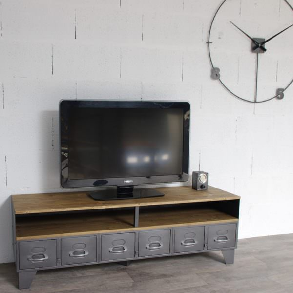 Meuble tv m tal industriel tiroirs et niche pour les for Meuble a tiroir metal