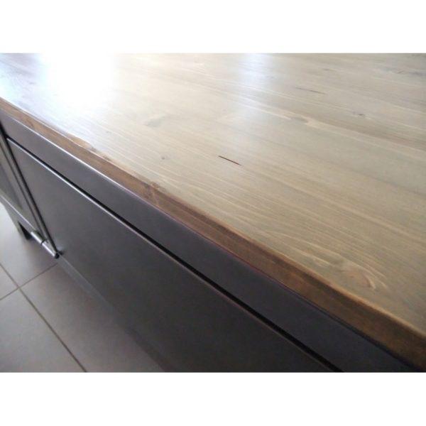 meuble tv industriel avec plateau bois