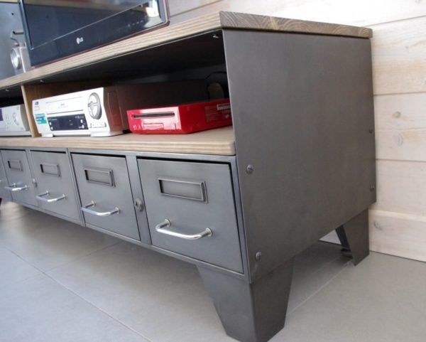 meuble tv industriel tiroirs acien