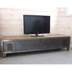 meuble tv industriel avec casier metal restauré