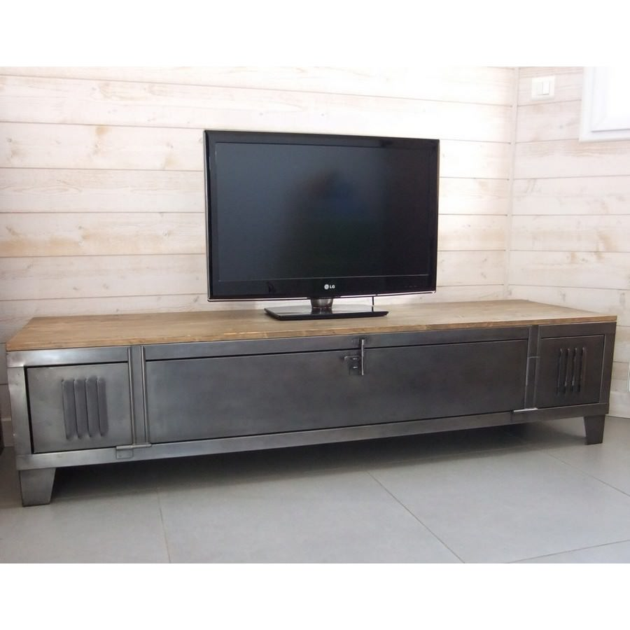 Meuble Tv Industriel Metal - Meuble Tv Industriel Avec Ancien Vestiaire Heure Cr Ation[mjhdah]https://www.artbambou.com/media/catalog/product/m/e/meuble-tv-industriel-teck-metal_1.jpg
